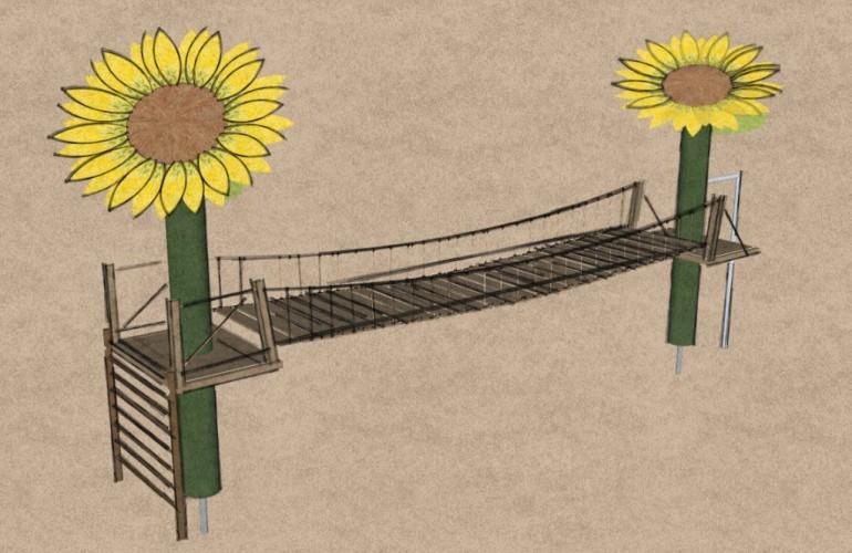 Ponte sospeso di legno