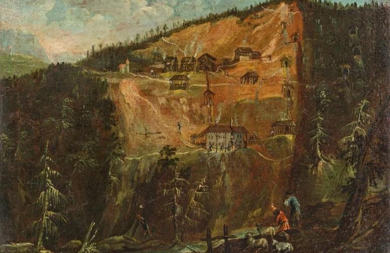 Gemälde der mittelalterlichen Rotlahn- Pfunderer Bergwerk